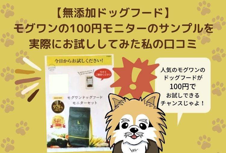 人気のモグワンが100円でお試しできる!?サンプルを実際に購入した私の口コミ